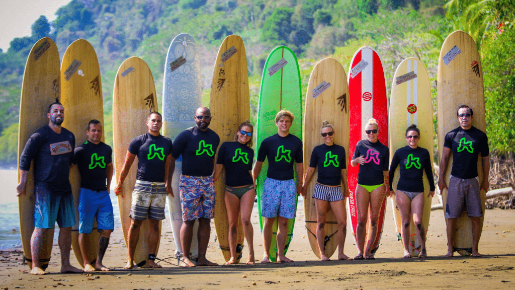 group of surfers at Kalon Surf Camp being happy end of week photo