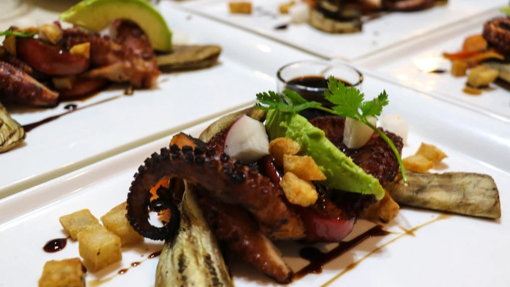 gourmet food grilled octopus